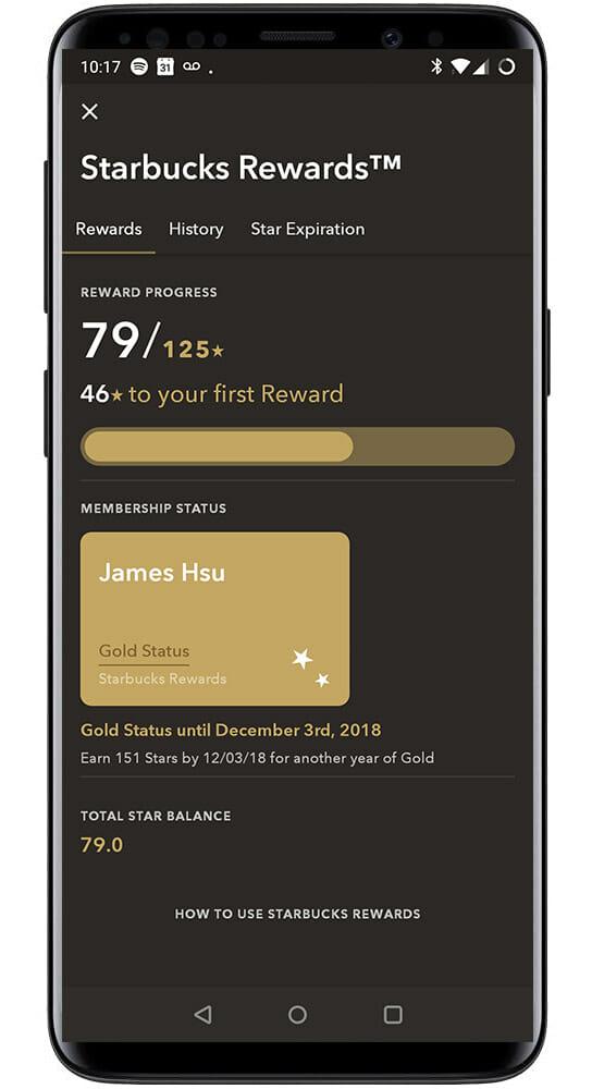 Starbucks loyalty app