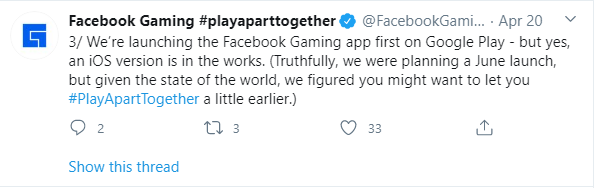 Facebook gaming app release announcement Twitter